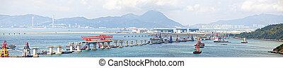 puente, hong, macao, zhuhai, sitio, construcción, kong, macao