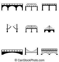 puente, icono, conjunto