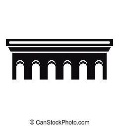 puente, icono, simple, estilo