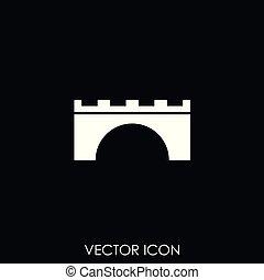 puente, icono, vector