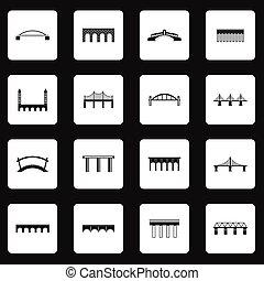 puente, iconos, conjunto, en, simple, estilo