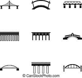 puente, iconos, conjunto, simple, estilo