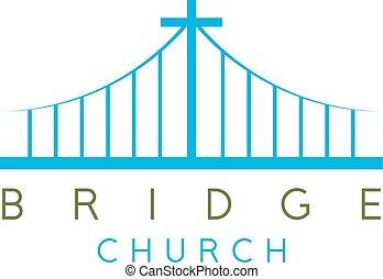 puente, iglesia, religioso, concepto, vector, diseño,...