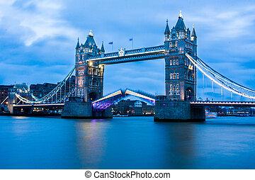 puente, imagen, raro, torre, apertura
