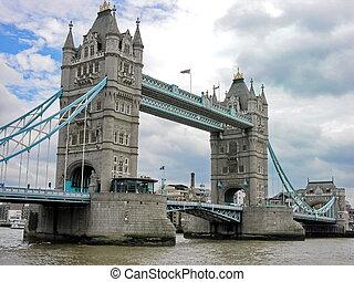 puente, inglaterra, encima, londres, reino unido, río thames