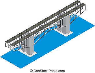 puente, isométrico, vista