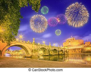 puente, italia, santo, ángel, roma, castillo