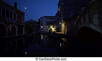 puente, italia, venecia, góndola, canale, grande, frente, ...