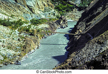 puente, karakorum, paquistán, encima, soga, río de ganges