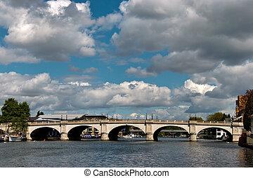 puente, kingston, thames, el atravesar, río, vista