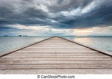 puente, koh, madera, ocaso, mar, tailandia, playa, samui