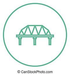 puente, línea, carril, icon., manera