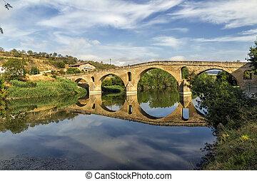 Puente la Reina bridge , Navarre Spain - romanesque bridge...
