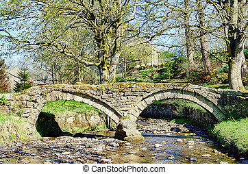 puente, lancashire., siglo, decimotercero, packhorse, wycoller