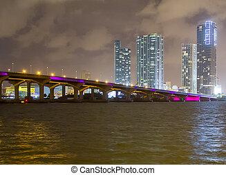 puente, lit, miami, arriba, condado, miami-dade, noche