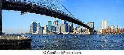 puente, más bajo, panorámico, brooklyn, york, vista, nuevo, manhattan
