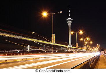 puente, macao, carretera, debajo