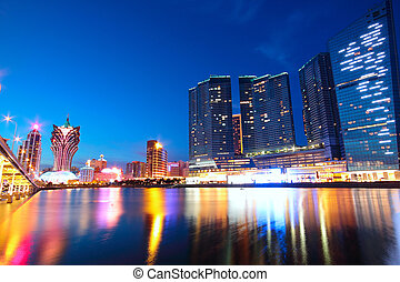 puente, macao, macao, asia., cityscape, rascacielos