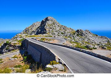 puente, mallorca, montaña, espiral, calobra, camino, sa, españa
