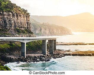 puente, mar, acantilado