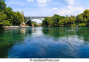 puente, metal, a través de, berna, suiza, río, aare