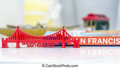 Puente, Miniatura, puerta, dorado