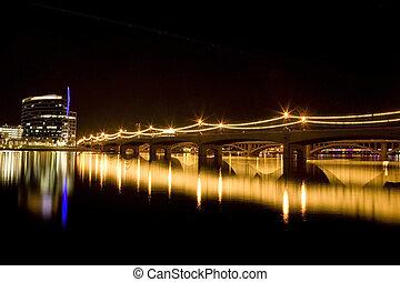 puente, molino, avenida