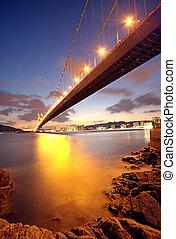 puente, momento, ocaso