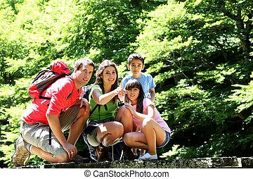 puente, montaña, observar, familia , naturaleza