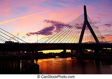puente, monumento conmemorativo, ocaso, colina, arcón, zakim