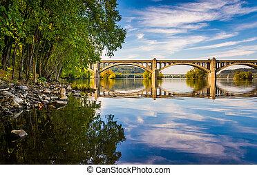 puente, monumento conmemorativo, susquehanna, wrightsville, río, reflejar, pennsylvania., veteranos
