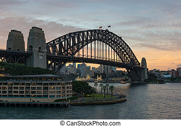 puente, muelle, puerto, bahía, sydney, circular