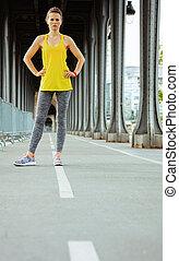 puente, mujer, bir-hakeim, relajante, pont, entrenamiento, ...