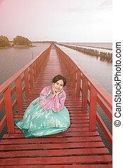 puente, mujer se sentar, de madera, postura, cuándo, hanbok,...