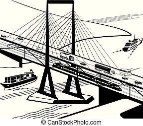 puente, multifunctional, transporte, perspectiva