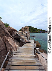 Puente, nangyuan, isla, koh, de madera, tropical, Tailandia...