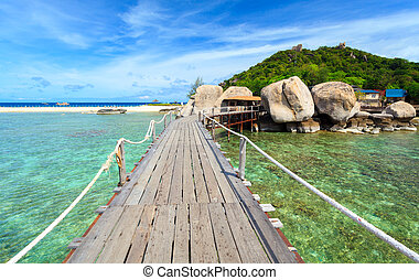 Puente,  nangyuan, isla, meridional,  suratthani, Tailandia
