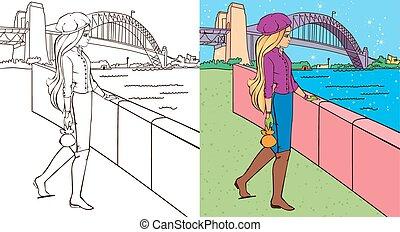 puente, niña, libro, colorante