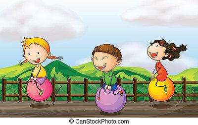 puente, niños, juego