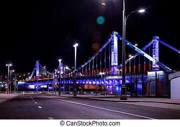 puente, noche, luces