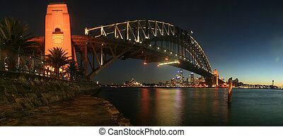 puente, noche, puerto de sydney, panorama