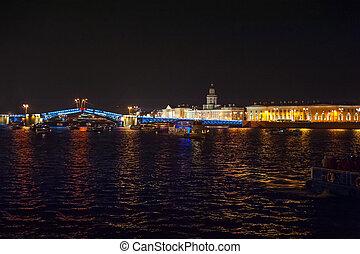 puente, noche, vista