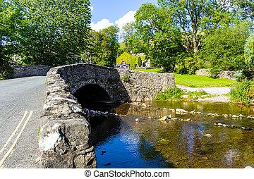 puente, norte, reino unido, encima, packhorse, inglaterra, malham, yorkshire, malham, yorkshire, occidental, beck, valles, europe.