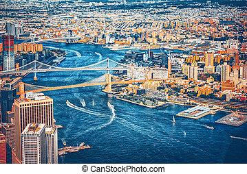 puente, nuevo, brooklyn, river., este, york., suspendido, a ...