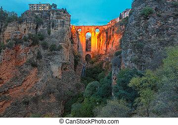 Puente Nuevo, New Bridge, at night in Ronda, Spain