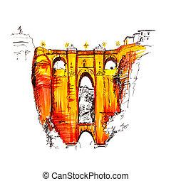 Puente Nuevo, New Bridge, in Ronda, Spain - Puente Nuevo or...