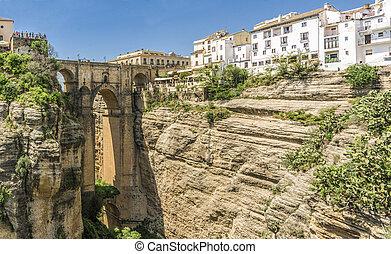 Puente Nuevo stone bridge in the city of Ronda, Andalucia Spain.