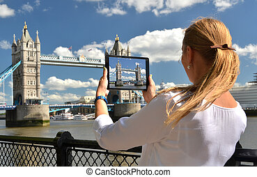 puente, pantalla, torre, tableta