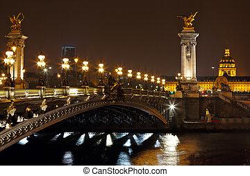 puente, parís, francia, noche, iii, alexander