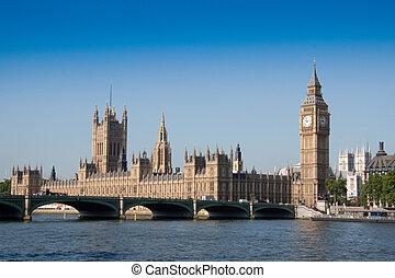 puente, parlamento, el pasar por alto, soleado, mañana, westminister, casas, brillante, río de thames